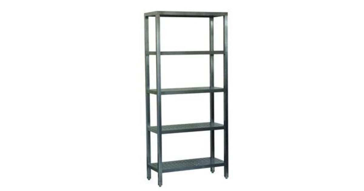 obalov materi l kovov reg l z kladn 200 x 90 x 40 cm 5 polic st brn perfo. Black Bedroom Furniture Sets. Home Design Ideas